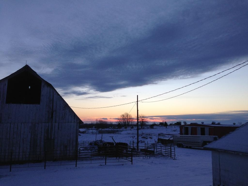 Sunrise over a fresh snowfall Jan 1, 2013.